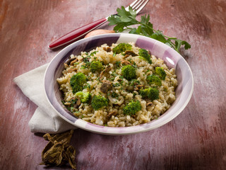 risotto with cep mushroom and broccoli