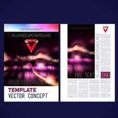 vector template design brochure,blur backgrounds city ​​at night