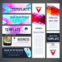 Eight abstract design banners vector template design, brochure