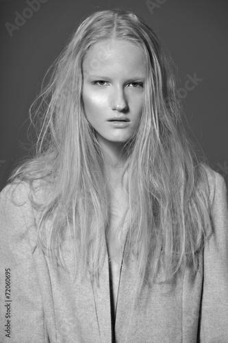 Fashion model pose on gray background - 72060695
