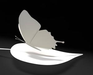 Vlinder van papier op blad