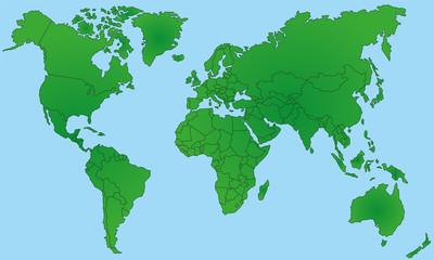 Weltkarte in Grün