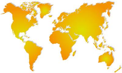 Weltkarte in Orange