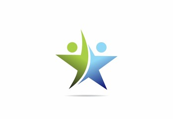 star duo people success partner vector logo