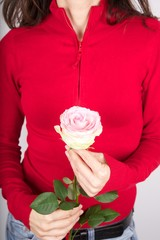 red woman sweater wiyh pink flower