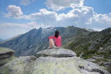woman looking at summit mountain