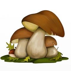 design with three mushrooms