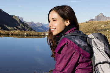 Woman on a hiking trip in autumn