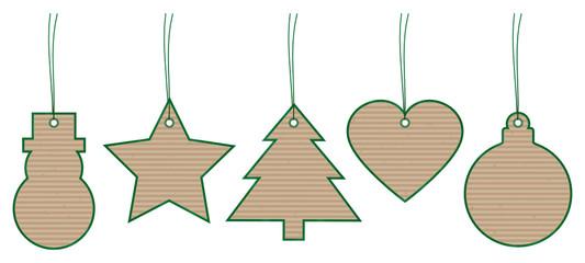 Set 5 Christmas Hangtags Brown Paper Green