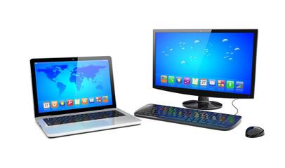 Desktop pc and laptop