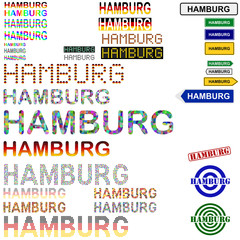 Hamburg text design set