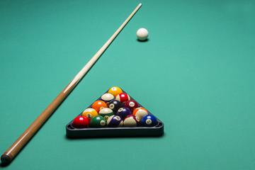 arranged billiard balls; macro