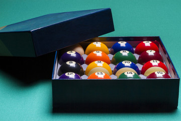 Billiard balls set in a  box