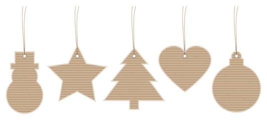 Set 5 Christmas Hangtags Brown Paper