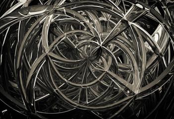 3D abstract geometric glass spirals
