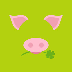 Abstract Pig Clover Green