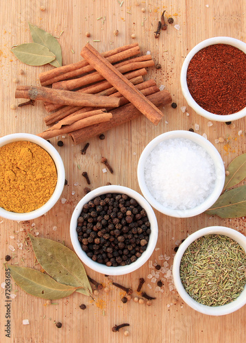 Foto op Plexiglas Kruiderij Various spices, herbs and seasonings on wooden background