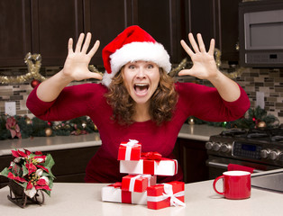 thrilled woman during Christmas