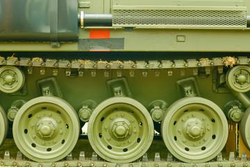 military tank tracks closeup
