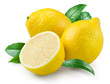 Lemon. Fruit with leaves on a white background. - 72064030