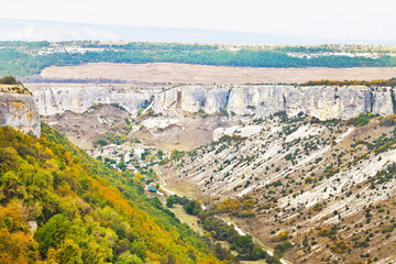 view of gorge ashlama-dere in Crimean mountains