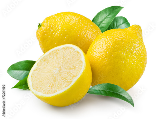 Foto op Canvas Vruchten Lemon. Fruit with leaves on a white background.
