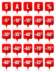 Red Speechbubbles Sale Percent
