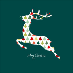 Card Abstract Reindeer Tree Pattern Red/Green