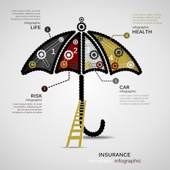 Insurance concept infographic template with geared umbrella