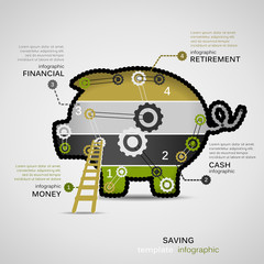 Saving money concept infographic