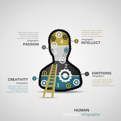 Human concept infographic template with geared silhouette