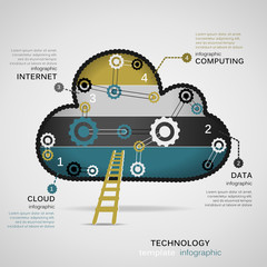 Technology concept infographic template with geared cloud