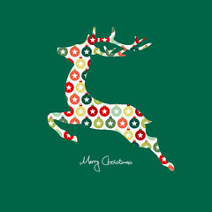 Card Abstract Reindeer Pattern Red/Green
