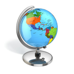 Globe with political map on white isolated background.
