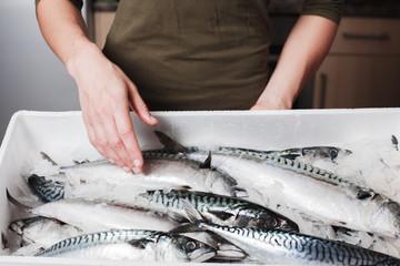 Woman with box of mackerel