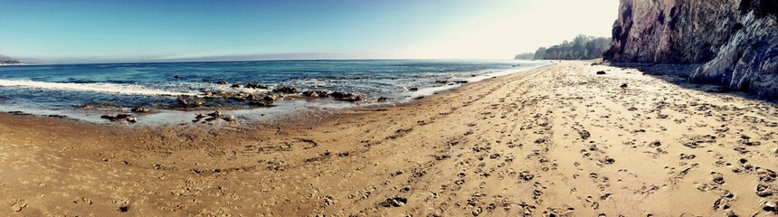 Awesome panorama of a Californian beach in Santa Barbara