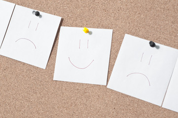 white reminder sticky smile note on cork board empty space for