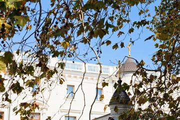 Livadiya Palace and Church in autumn day