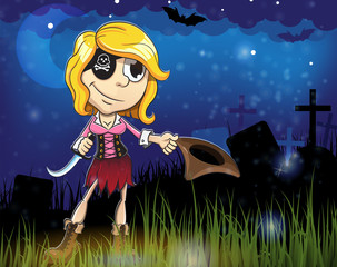 Pirate girl in the cemetery