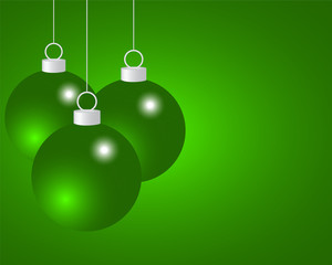 Green Christmas balls on a green background