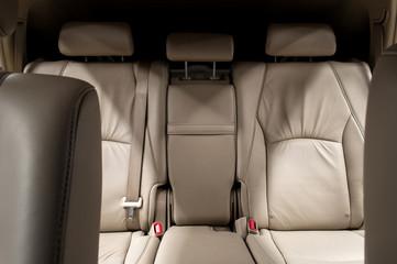 Rear leather seats. Car interior.
