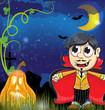 vampire and  jack o lantern