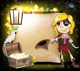 Pirate girl, parrot and treasure chest