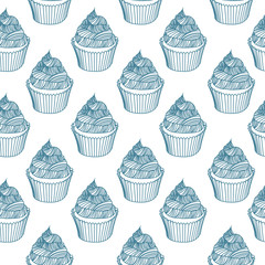 Vintage cupcake with chalks. Sketches Seamless pattern.