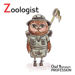Alphabet professions Owl Letter Z - Zoologist Vector Watercolor.