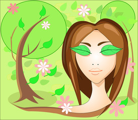 Girl with leaves eyes, in the garden