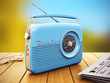Old radio on wooden table outdoors - 72067455