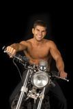 man no shirt motorcycle black looking smile