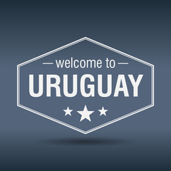 welcome to Uruguay hexagonal white vintage label
