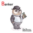 Alphabet professions Owl Letter B - Banker Vector Watercolor.